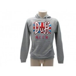 FELPA HOODIE THE SIMPSONS DUFF BEER BANDIERA INGLESE GRIGIA