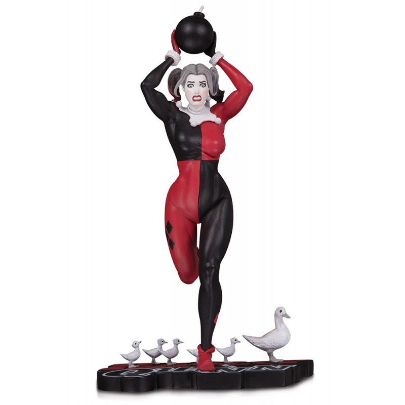 HARLEY QUINN RED WHITE AND BLACK BY FRANK CHO RESIN STATUE 25CM FIGURE