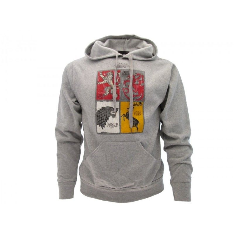 FELPA HOODIE GAME OF THRONES TRONO DI SPADE CASATE GRIGIA