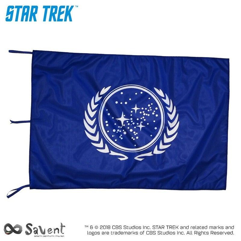 STAR TREK UNITED FEDERATION OF PLANET BLUE FLAG BANDIERA REPLICA SAVENT
