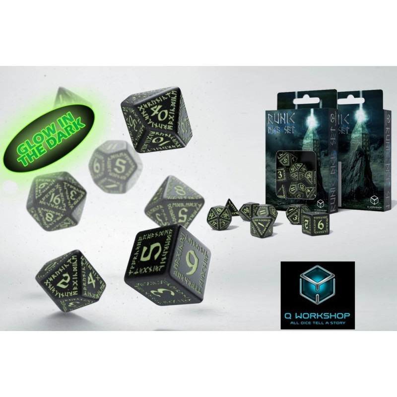 RUNIC GLOW IN THE DARK DICE SET 7 DADI Q WORKSHOP