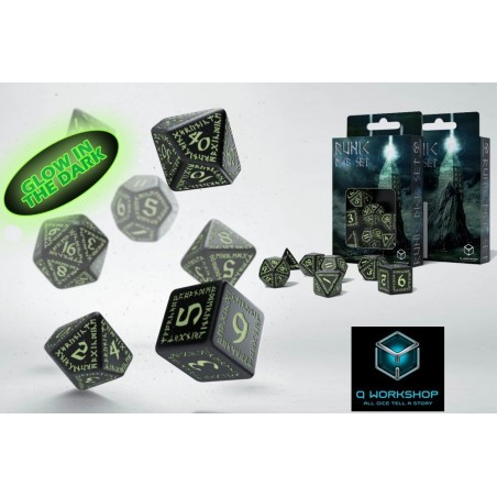 RUNIC GLOW IN THE DARK DICE SET 7 DADI