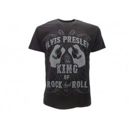 MAGLIA T SHIRT ELVIS PRESLEY KING OF ROCK NERA