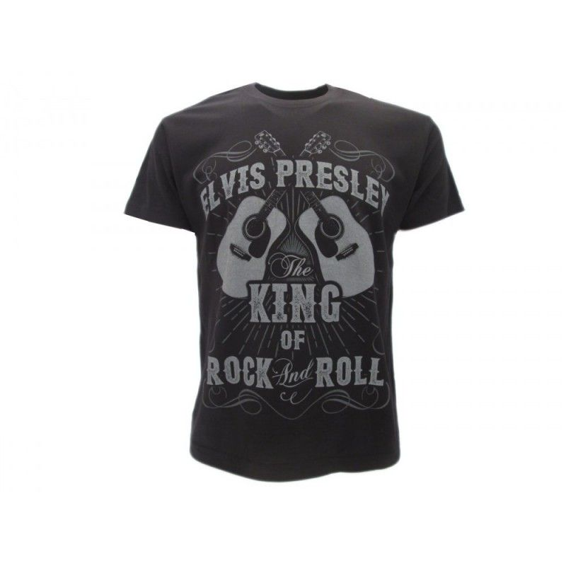 MAGLIA T SHIRT ELVIS PRESLEY KING OF ROCK NERA