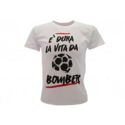 MAGLIA T SHIRT UMORISTICHE DURA LA VITA DA BOMBER BIANCA