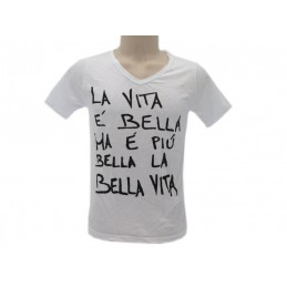 MAGLIA T SHIRT SOLO PAROLE LA BELLA VITA BIANCA