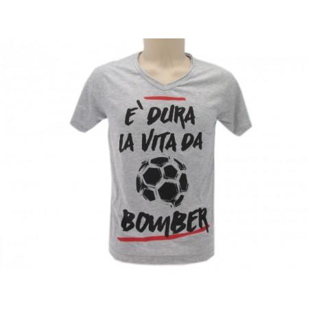 MAGLIA T SHIRT SOLO PAROLE DURA LA VITA DA BOMBER GRIGIA