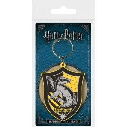 HARRY POTTER HUFFLEPUFF CREST RUBBER KEYCHAIN PORTACHIAVI IN GOMMA