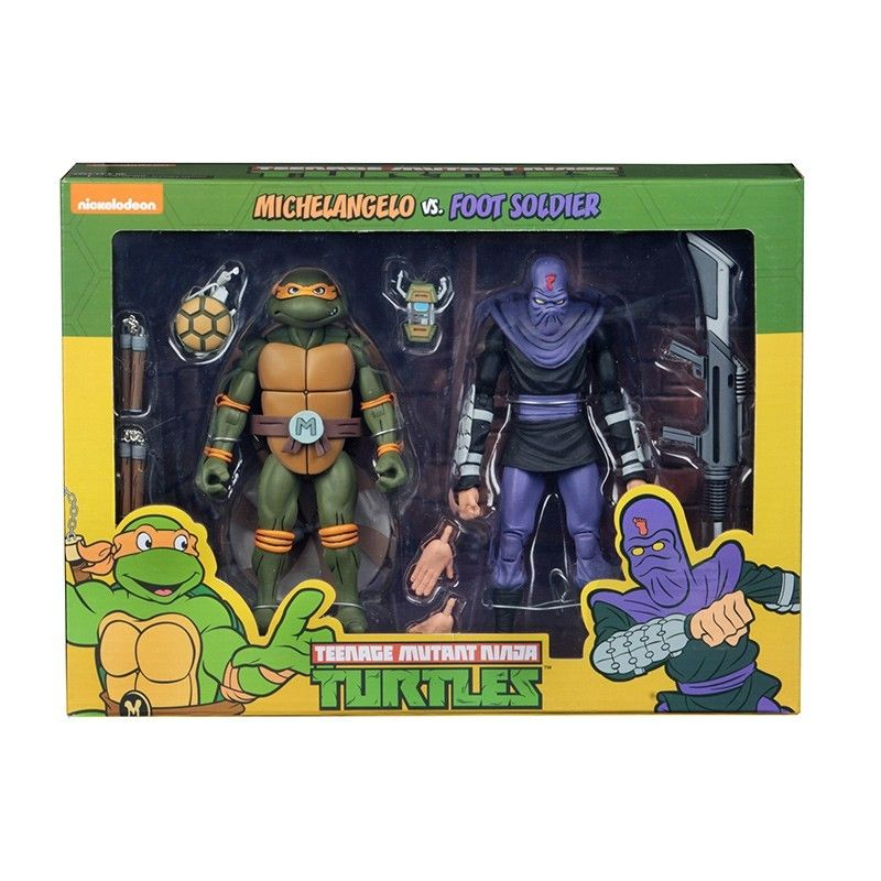 NECA TMNT TEENAGE MUTANT NINJA TURTLES - MICHELANGELO VS FOOT SOLDIER 2-PACK ACTION FIGURE