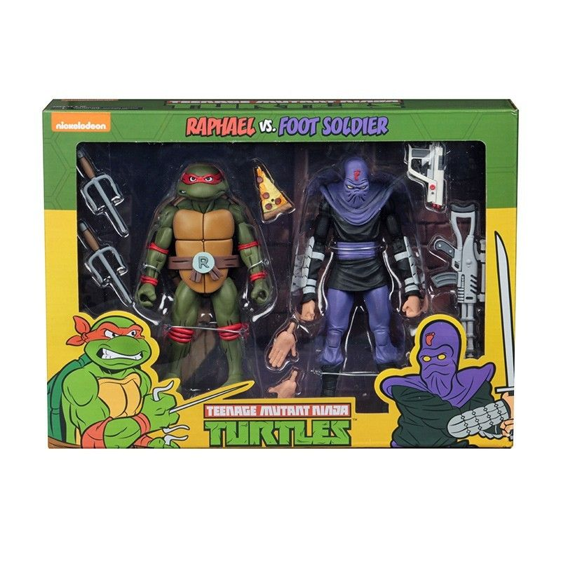 NECA TMNT TEENAGE MUTANT NINJA TURTLES - RAFFAELLO VS FOOT SOLDIER 2-PACK ACTION FIGURE