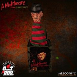 A NIGHTMARE ON ELM STREET BURST A BOX FREDDY KRUEGER PUPAZZO A MOLLA FIGURE MEZCO TOYS
