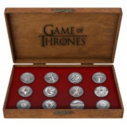 GAME OF THRONES HOUSE EMBLEMS METAL PIN BOX SET 12 SPILLE TRONO DI SPADE
