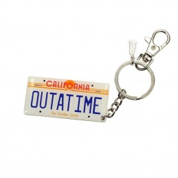 BACK TO THE FUTURE - DELOREAN LICENSE PLATE TARGA OUTATIME PORTACHIAVI