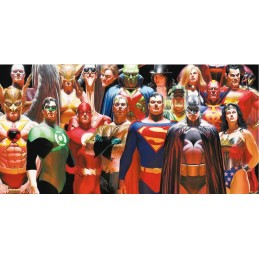 DC UNIVERSE JUSTICE LEAGUE GLASS POSTER IN VETRO 60 X 30 CM
