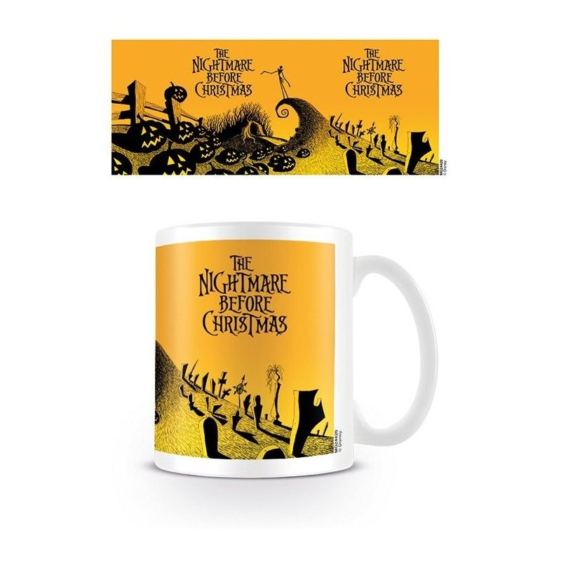 NINTENDO NIGHTMARE BEFORE CHRISTMAS YELLOW CERAMIC MUG TAZZA IN CERAMICA