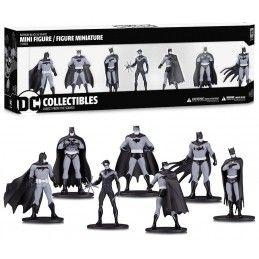 BATMAN BLACK AND WHITE MINI PVC SET 7-PACK ACTION FIGURE DC COLLECTIBLES