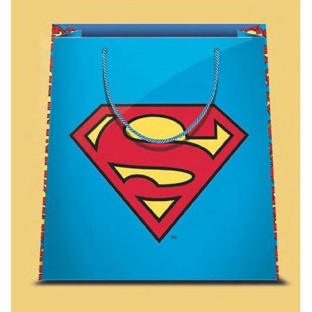 SUPERMAN LOGO SHOPPER BAG BORSA DI CARTA