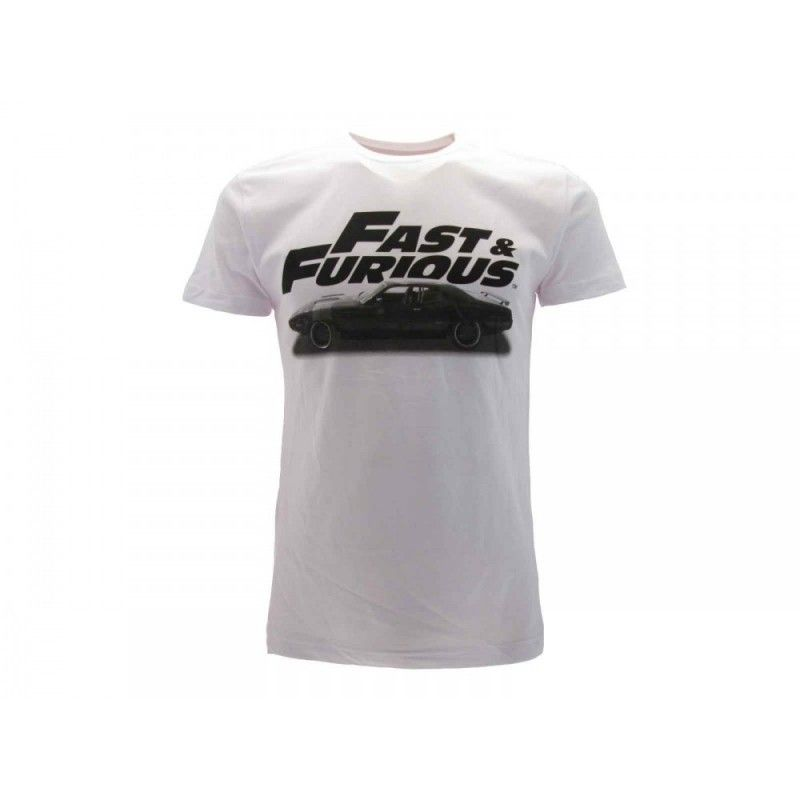 MAGLIA T SHIRT FAST AND FURIOUS LOGO CAR BIANCA