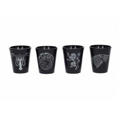 GAME OF THRONES BLACK SHOT GLASSES SET 4 BICCHIERINI TRONO DI SPADE
