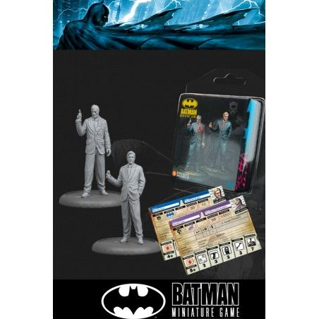 BATMAN MINIATURE GAME -  THE WHITE KNIGHT AND TWO FACE MINI RESIN STATUE FIGURE