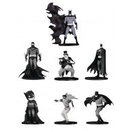 DC COLLECTIBLES BATMAN BLACK AND WHITE MINI S4 PVC SET 7-PACK ACTION FIGURE