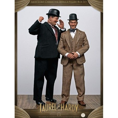STAN LAUREL AND OLIVER HARDY CLASSIC SUITS CLOTH 1:6 SCALE ACTION FIGURE 30CM