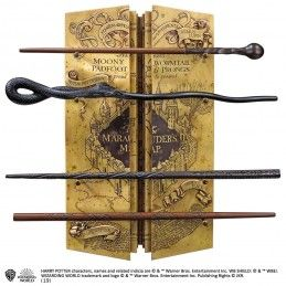 NOBLE COLLECTIONS HARRY POTTER MARAUDER'S MAP WAND DISPLAY SET BACCHETTE REPLICA