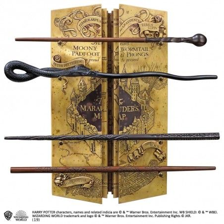 HARRY POTTER MARAUDER'S MAP WAND DISPLAY SET BACCHETTE REPLICA