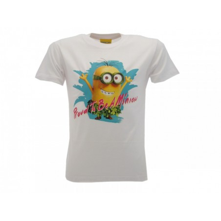 MAGLIA T SHIRT MINIONS PROUD TO BE A MINION BIANCA