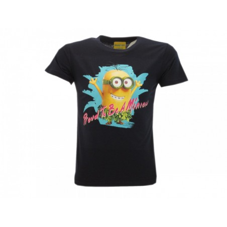 MAGLIA T SHIRT MINIONS PROUD TO BE A MINION BLUE NAVY