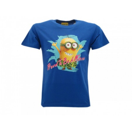 MAGLIA T SHIRT MINIONS PROUD TO BE A MINION BLUE ROYAL