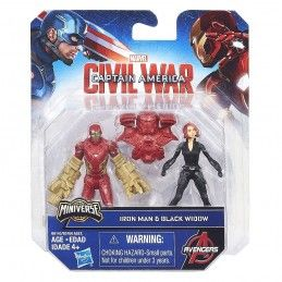 MARVEL MINIVERSE CIVIL WAR - IRON MAN VS BLACK WIDOW ACTION FIGURE HASBRO