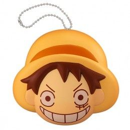 MEGAHOUSE ONE PIECE FLUFFY SQUEEZE - RUBBER LUFFY FACE KEYCHAIN PORTACHIAVI ANTISTRESS