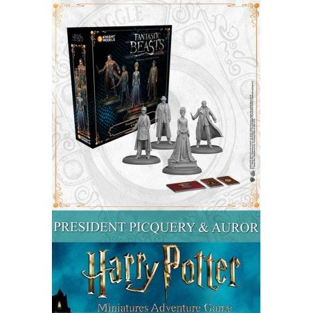 HARRY POTTER MINIATURE ADVENTURE GAME - FANTASTIC BEASTS PRESIDENT PICQUERY AND AUROR MINI RESIN STATUE FIGURE