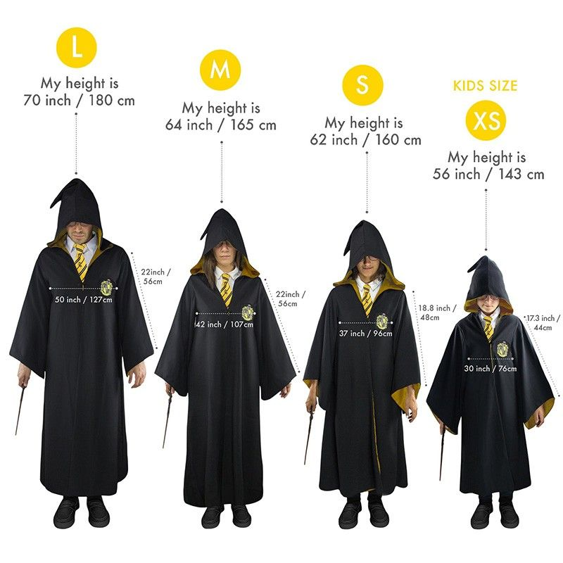 HARRY POTTER WIZARD ROBE TUNICA MAGO TASSOROSSO TAGLIA M CINEREPLICAS