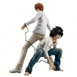 DEATH NOTE - LIGHT YAGAMI RAITO AND L GEM STATUE 25 CM FIGURE MEGAHOUSE
