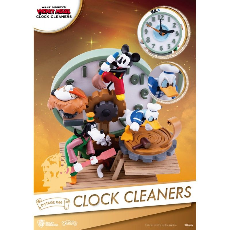 MICKEY MOUSE CLOCK CLEANERS D-STAGE 046 STATUE FIGURE DIORAMA BEAST KINGDOM
