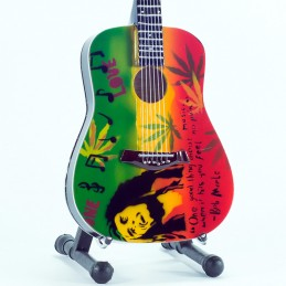 MUSIC LEGENDS COLLECTION MINI GUITAR BOB MARLEY TRIBUTE ONE LOVE MINI REPLICA IN LEGNO