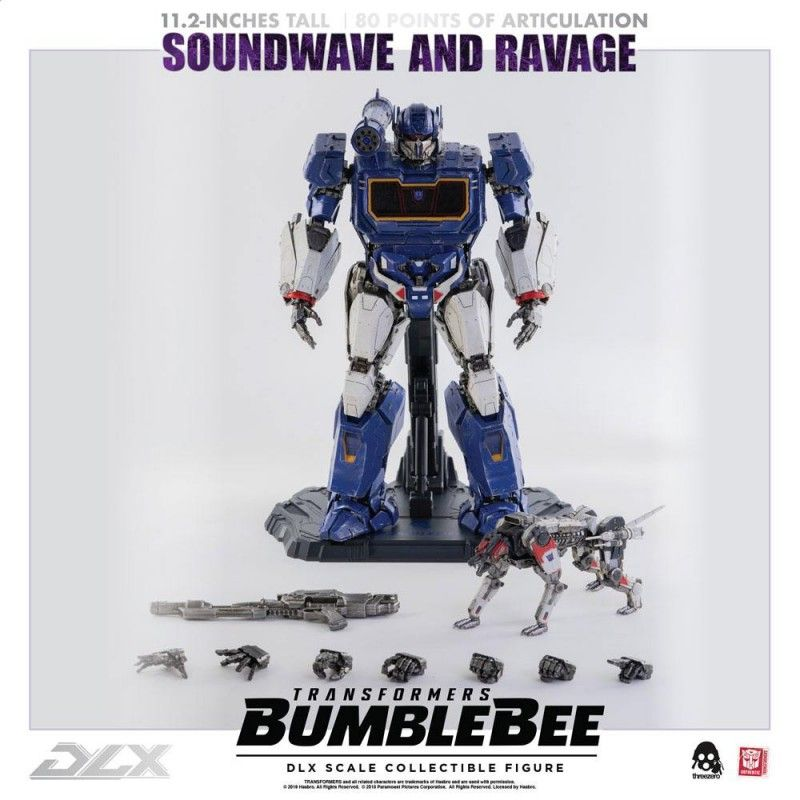 THREEZERO TRANSFORMERS BUMBLEBEE - SOUNDWAVE AND RAVAGE DLX SCALE COLLECTIBLE ACTION FIGURE 28CM
