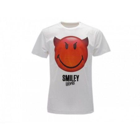 MAGLIA T SHIRT SMILEY WORLD DEVIL BIANCA
