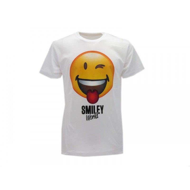 MAGLIA T SHIRT SMILEY WORLD LINGUA BIANCA