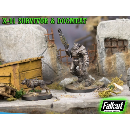 MODIPHIUS ENTERTAINMENT FALLOUT WASTELAND WARFARE - X-01 SURVIVOR AND DOGMEAT MINIATURE TABLETOP ROLEPLAYING GIOCO DI RUOLO