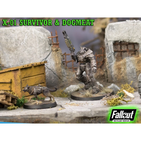 FALLOUT WASTELAND WARFARE - X-01 SURVIVOR AND DOGMEAT MINIATURE TABLETOP ROLEPLAYING GIOCO DI RUOLO