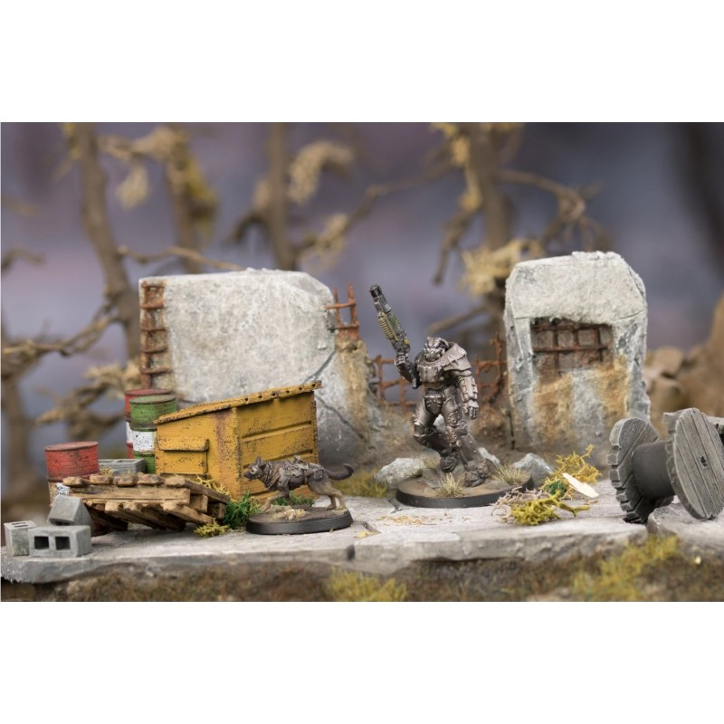 FALLOUT WASTELAND WARFARE - X-01 SURVIVOR AND DOGMEAT MINIATURE TABLETOP ROLEPLAYING GIOCO DI RUOLO MODIPHIUS ENTERTAINMENT