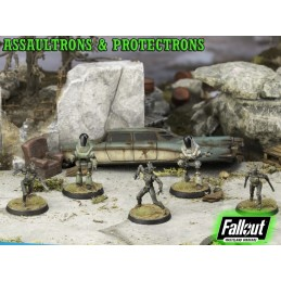 MODIPHIUS ENTERTAINMENT FALLOUT WASTELAND WARFARE - ASSAULTRONS AND PROTECTRONS MINIATURE TABLETOP ROLEPLAYING GIOCO DI RUOLO