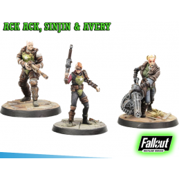 MODIPHIUS ENTERTAINMENT FALLOUT WASTELAND WARFARE - ACK ACK, SINJIN AND AVERY MINIATURE TABLETOP ROLEPLAYING GIOCO DI RUOLO
