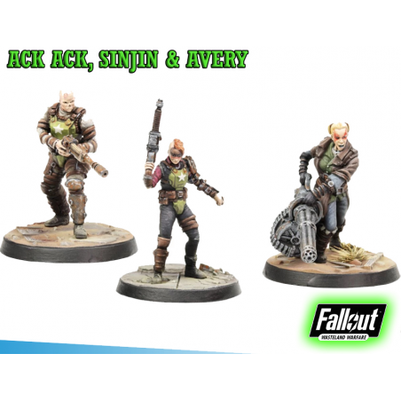FALLOUT WASTELAND WARFARE - ACK ACK, SINJIN AND AVERY MINIATURE TABLETOP ROLEPLAYING GIOCO DI RUOLO