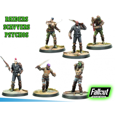 FALLOUT WASTELAND WARFARE - RAIDERS SCAVVERS AND PSYCHOS MINIATURE TABLETOP ROLEPLAYING GIOCO DI RUOLO