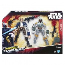 STAR WARS HERO MASHERS - HAN SOLO VS BOBA FETT ACTION FIGURE HASBRO