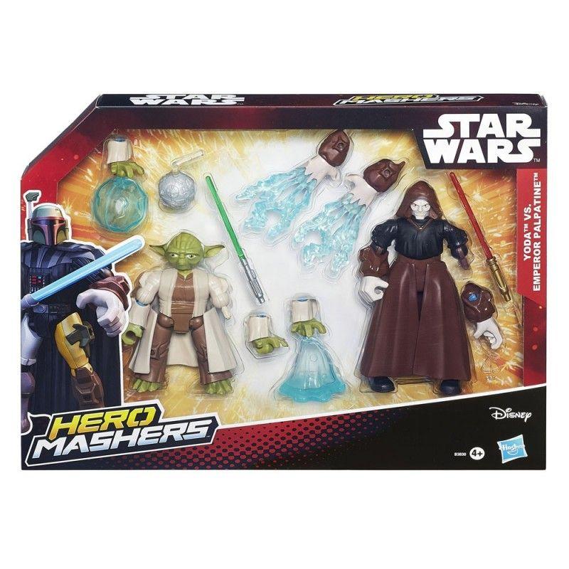 STAR WARS HERO MASHERS - YODA VS EMPEROR PALPATINE ACTION FIGURE HASBRO